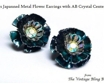 50s AB Crystal & Enamel Flower Clip Earrings in Cyan Blue Enameled Metal Flowers and Crystal Center - Vintage 50's Costume Jewelry