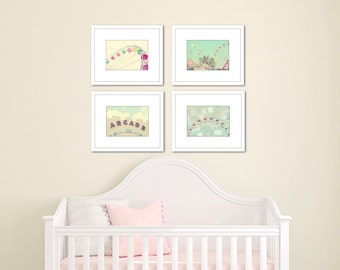 baby girl room decor nursery prints carnival picture set of four 5x7 photographs little girls room nursery art pink mint green wall art