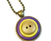 UW Huskies , Purple and Gold Necklace Pendant, LSU, Button Necklace, Upcycled Jewelry