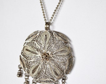Vintage Filigree Necklace and Earrings Set