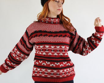 SALE - Vintage 1980s Womens Red Black Chunky Wool Esprit Nordic Fair Isle Pullover Sweater