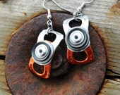 Pull tab Earrings - Orange and silver,  with black rubber, recycled