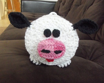 Crochet Cow Bathroom Tissue Cover//White and Black Cow with Pink Nose Bathroom Roll Cozy//Crochet Toilet Tissue Cover