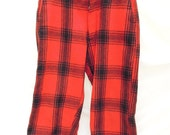 vintage snowpants.buffalo plaid.wool.holiday.red.black.mountain.rustic.cabin.tessiemay