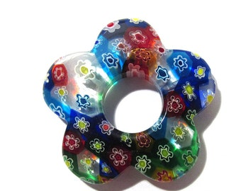 35mm GLASS Millefiori Bead One (1) Millefiori FLOWER Shaped Donut Bead 35mm Large Glass Focal Bead Jewelry Mosaic Supplies (N13)