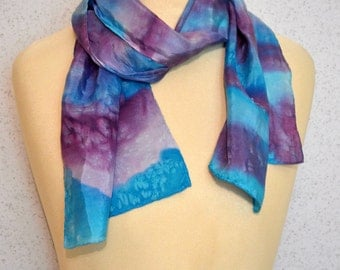 Long vintage silk scarf: Hand Painted Turquoise Purple and Lavender Stripes