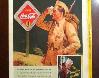 """Vintage 1940s COCA COLA """"coke"""" Ad - Free Shipping coca cola ad WWII Howdy Friend Sprite Boy"""
