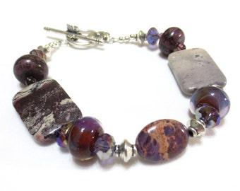 Purple Bracelet, Lampwork Bead, Gray Stone Bracelet, Purple Jasper, Amethyst Crystals, Flowered Clasp, Large Bracelet, 9 Inch