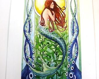 Kelp Forest Mermaid - Original watercolor painting