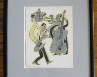 JAZZ TRIO - Original Illustration by Roxanna Bikadoroff - commissioned by The New Yorker 1990s