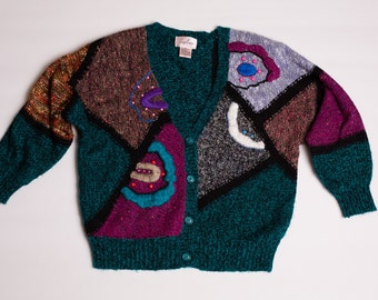 Jaclyn Smith Cardigan Sweater, Sparkly Patchwork & Beads, Vintage 80s-90s