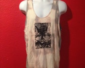Wolf Pack Tank Top, Linoleum Block Print, hand printed, acid wash