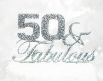 "50th Birthday Cake Topper ""50 & Fabulous"" Birthday Party Decor Glitter Fiftieth Birthday Cake Topper, 50 Cake Topper for Her (Item - FFA500)"