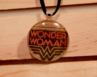 Wonder Woman - Up-cycled Comic Book Pendant