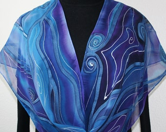 Silk Scarf Hand Painted Silk Shawl Blue Purple Hand Dyed Scarf PASSION STORM Extra-Long 11x90 Anniversary Gift Birthday Gift Free Gift-Wrap