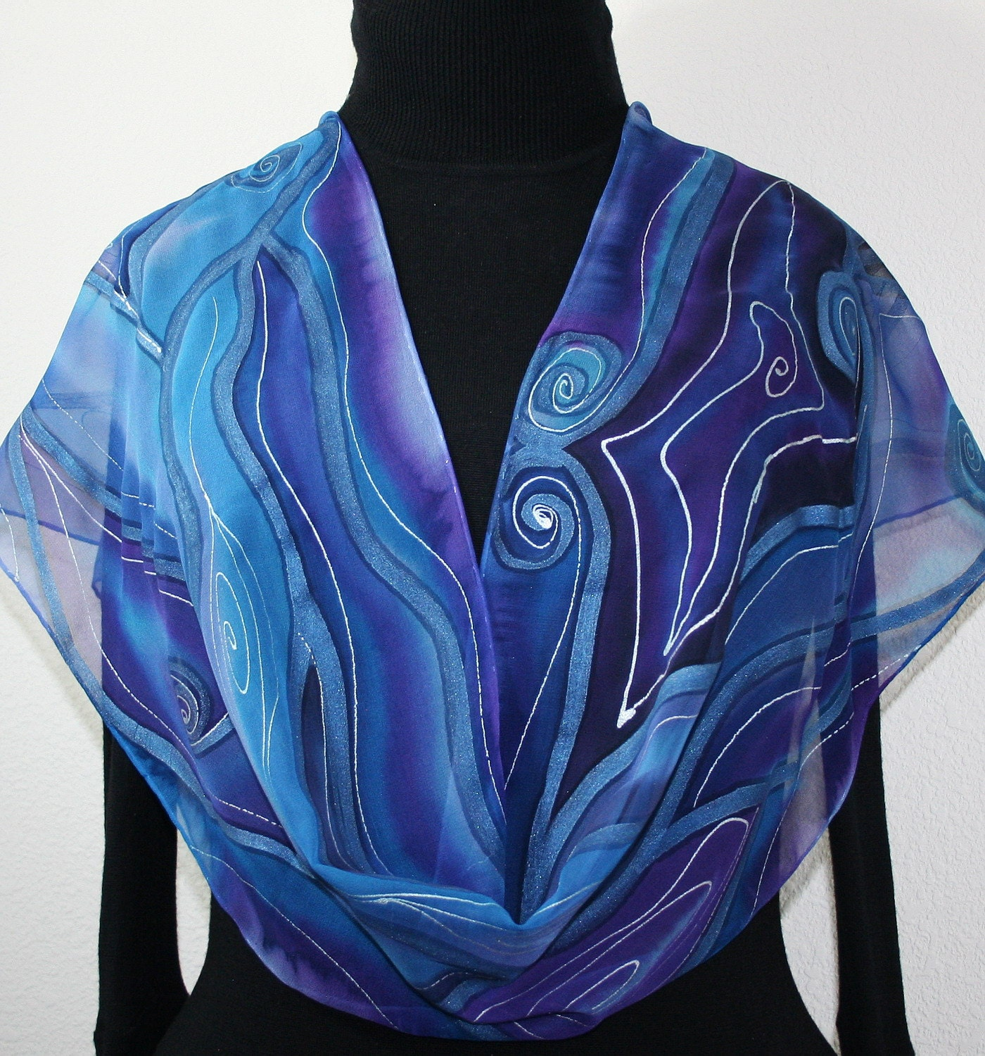 silk scarf hand painted silk shawl blue purple hand dyed scarf