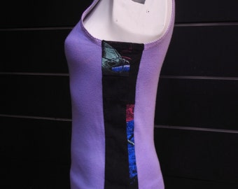 Psy-Fi - modified vintage singlet with contrast upcycled Tshirt panels in lavender and black
