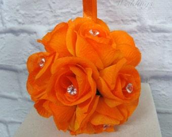 Wedding flower ball - Orange rose pomander - Flower girl kissing ball Wedding decorations