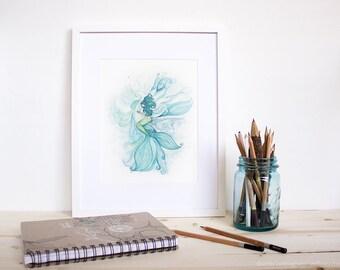 Mere Series: Marianas and the Oyster - Mermaid whimsical art. Mermaid  aqua blue theme ocean art print.