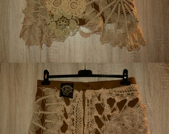 custom order UpCycLED crochet lace doilies wrap skirt with velcro or snap buttons closing