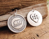 Personalized Mother and Twin Elephant Necklace, Mom and Two Children, Heart Oval Monogram, Fine Silver, Sterling Silver Chain, Made To Order