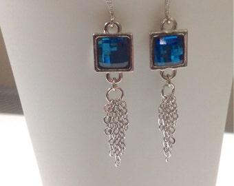 Blue earrings, Dangle Earrings, geometric earrings, sterling silver, Mothers Day gift, sparkly earrings