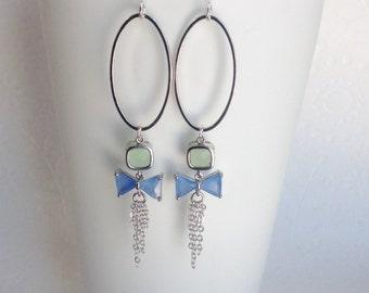 Blue earrings, Dangle Earrings, Blue and green earrings, Bow tie earrings, Unique Long earrings, hoop earrings, shabby chic style earrings