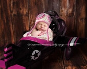 NEWBORN Baby Girl Hat, Baby Girl Aviator Hat, Baby Girl Pilot Hat, Aviator Hat, Cream and Pink with Goggles. Photo Props. Children, Kids.