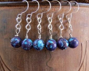 Mohave purple turquoise silver earrings. Kingman Arizona turquoise earrings. LITTLE GALAXIES. sterling infinity earrings. short earrings.