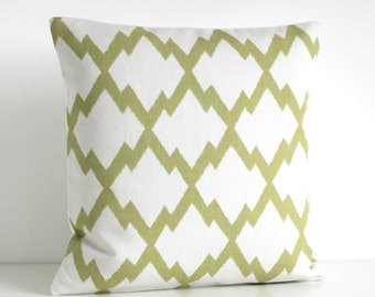Ikat Pillow Sham, Pillow Cover, Green Pillow Cover, 16x16 Ikat Cushion Cover, 16 Inch Pillow Cover, Pillow Cases - Ikat Trellis Pistachio