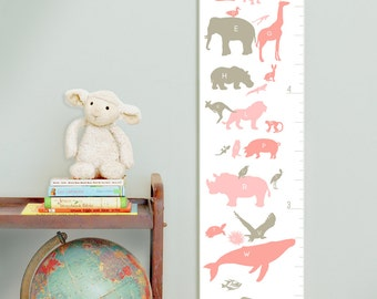 Custom/ Personalized Alphabet Animals canvas growth chart in pinks