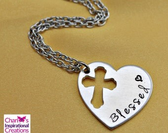 Blessed hand stamped heart cross necklace