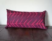 "Long Lumbar Pillow / Plum Pillow / Hand Painted Pink Arrow Pillow Cover / 14x28"" Long Pillow / Oblong Cushion Cover - Valentines"
