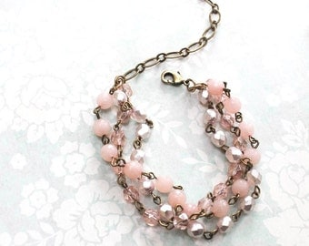 Pink Glass Bracelet Multi-strand Pale Pink Wedding Bridesmaid Gift Romantic Vintage Inspired Beaded Bracelet Hand Linked With Extender Chain