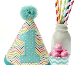 CUSTOM  Rainbow Chevron Fabric Birthday Hat