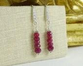 Ruby Earrings, Red Ruby, Ruby Jewelry, July Birthstone, Stone Earrings