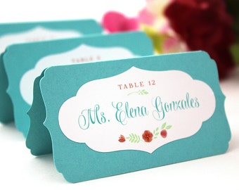 Custom Escort Cards, printed floral wedding place cards, unique layered name tents, metallic ink available