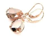 Rose gold earrings Swarovski crystal jewelry Gold rhinestone earrings Teardrop earrings Bridesmaid gift Wedding earrings Rose gold earings