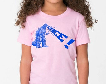 girls godzilla dinosaur science shirt- american apparel pink, available in 2, 4, 6, 8, 10, 12 year old sizes Worldwide Shipping