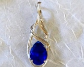 Stunning HandCrafted OOAK Sterling Silver Pear Shaped Sapphire Crystal Pendant