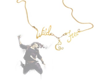 Wild and free necklace - inspirational jewelry, Personalized word, script hand made gold Necklace