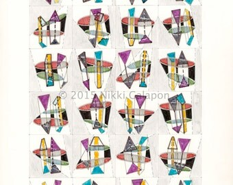 Four by Six Number One: Original Abstract Geometric Drawing Modern Art 11x14 red yellow blue green black grey purple contemporary wall decor