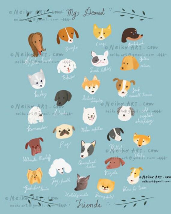 ABC Dog Poster , Dog breeds alphabet