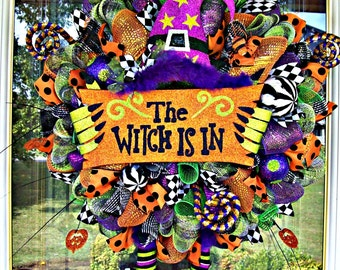 Whimsical The Witch Is In Witch Hat and Boots Wreath