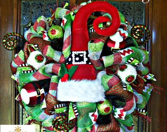 Whimsical Christmas Santa Luxe Hat Wreath