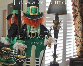 PRE-ORDER-2017 Delivery-St Patrick's  Leprechaun Centerpiece Stand-Wreath Accent-Petals & Plumes Design-The CREATOR of the Character Wreath