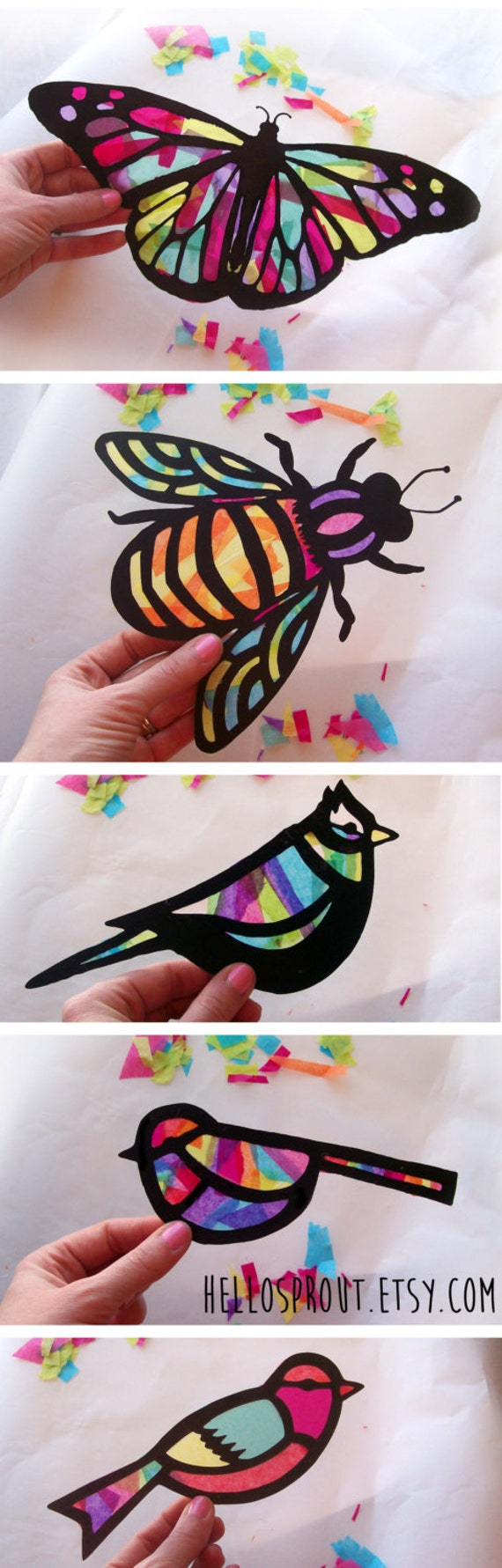Kids Craft Butterfly Stained Glass Suncatcher Kit With Birds Bees Using Tissue Paper Arts And