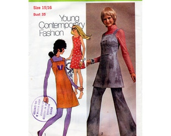 1970s Jumper or Mini Dress Pattern Bell Bottom Pants Simplicity 9474 Vintage Sewing Pattern Bust 35 Summer Sundress & Flared Trousers