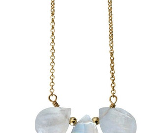 MOONSTONE trio drop necklace