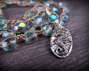 Aqua Blue Seahorse Necklace Ocean Blue Pewter and Silver Crochet Bohemian Boho Beach Chic Jewelry